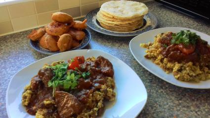 Pork Liver Curry & Courgette Bhajis