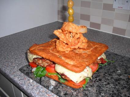 Monster Turkey Burger in an Olive Bread Bun