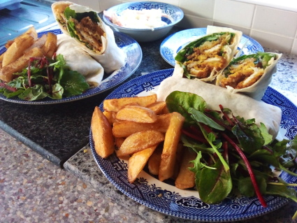 Southern style Battered Chicken Wraps