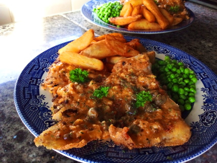 Fish, Chips, Peas and Caper Sauce